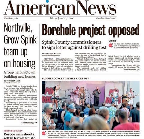 Aberdeen American News Front Page Pop ROCKS